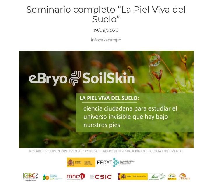 18 de junio invitación del Centro de Educación Ambiental. Seminario online.